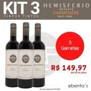 Kit 3 Vinhos Tintos Hemisferio Reserva Carménère