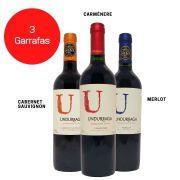 Kit 3 Vinhos Undurraga Cabernet Sauvignon /  Carménère / Merlot