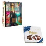 Kit Espumante Chandon - 750ml com 2 Taças + Chocolate ao Leite Belgian 250g