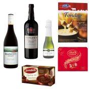 Kit Vinho do Porto 750ml + Fondue de Queijo 400g + Vinho Brancott 750ml + Chocolate Suíço Lindt 300g