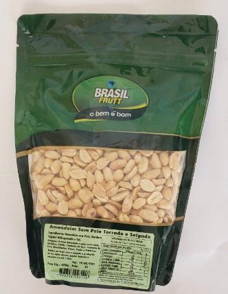 Amendoim Sem Pele Torrado e Salgado Brasil Frutt - 450g -