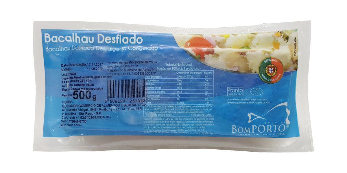 Bacalhau Desfiado Dessalgado Congelado - Bom PORTO - 500g