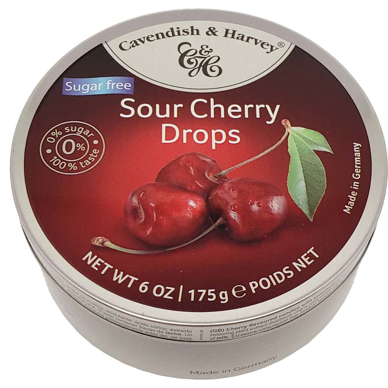Balas Sugar Free Sour Cherry Drops Cavendish & Harvey - 175g -