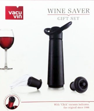 Bomba a vácuo para vinho preta com 1 rolha e Bico Dosador- Vacuvin
