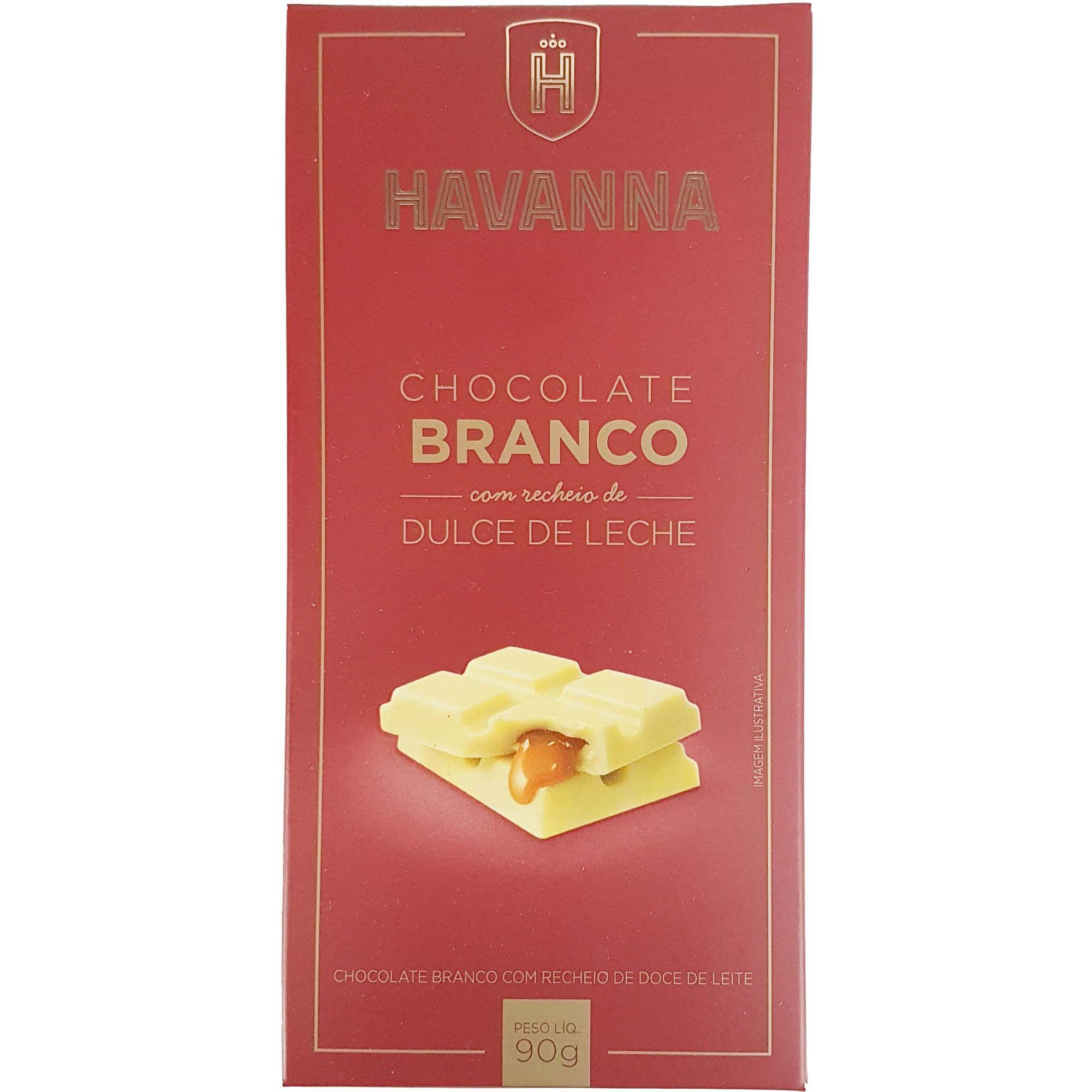 Chocolate Havanna Branco Com Recheio de Dolce de Leite - 90g -