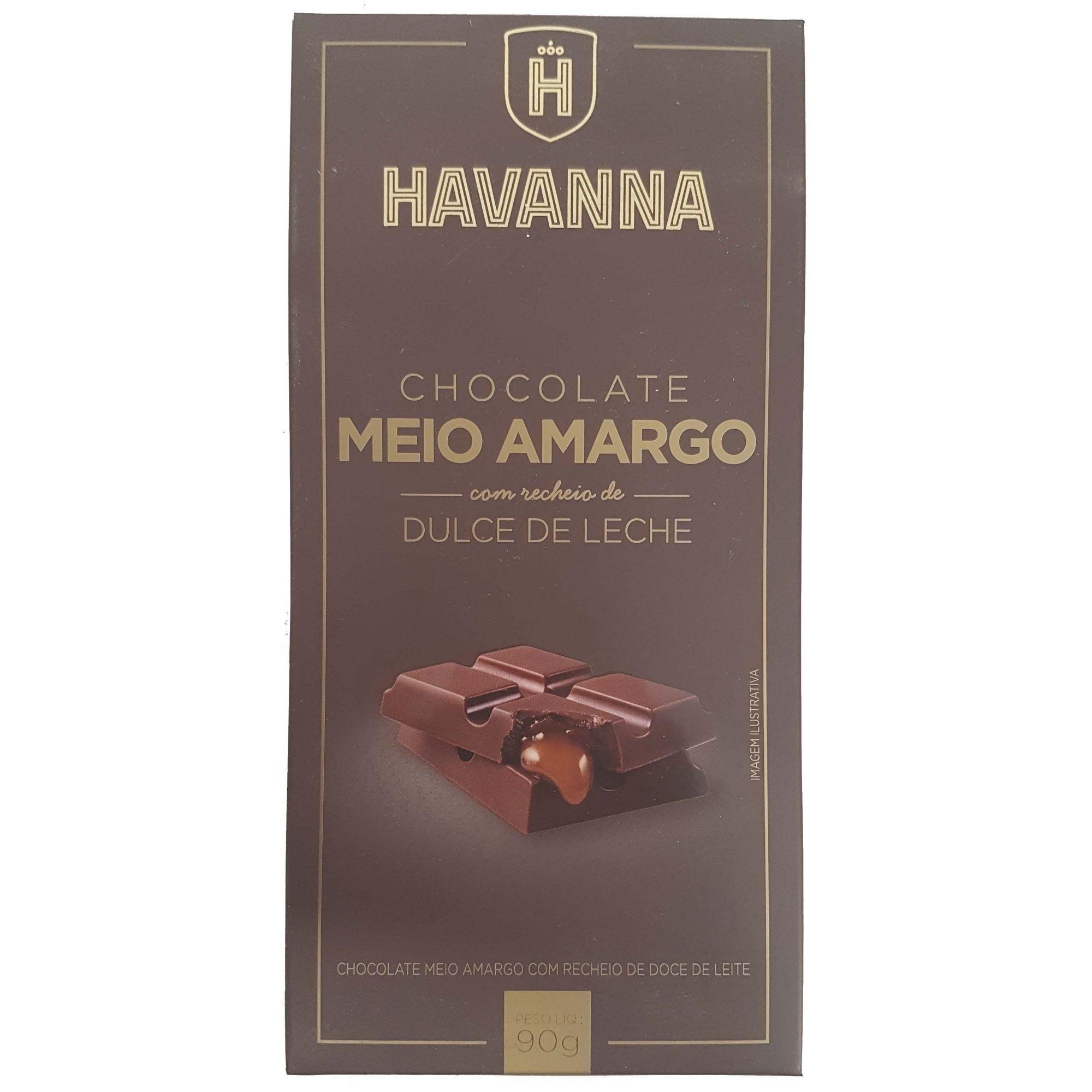 Chocolate Havanna Meio Amargo Com Recheio de Dolce de Leite - 90g -