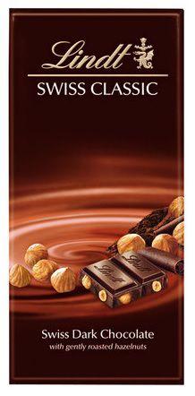 Chocolate Lindt Swiss Classic Amargo com Avelã - 100g -