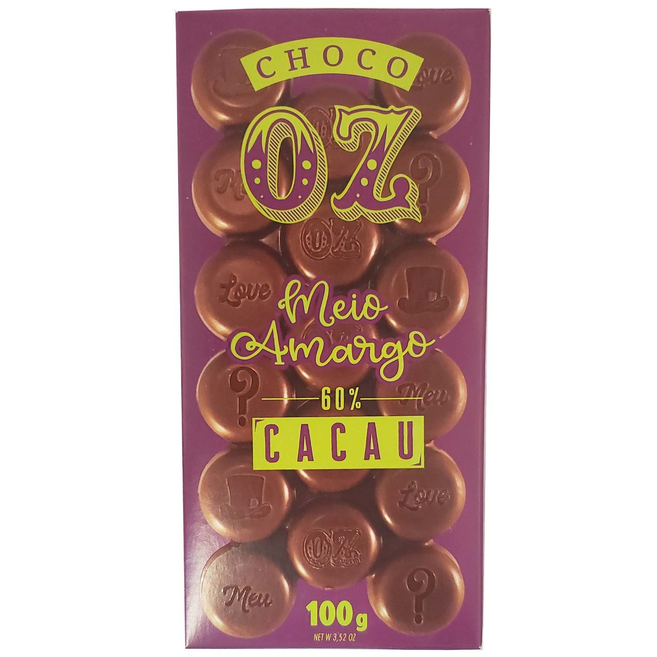 Chocolate Meio Amargo 60% Cacau Choco OZ - 100g -