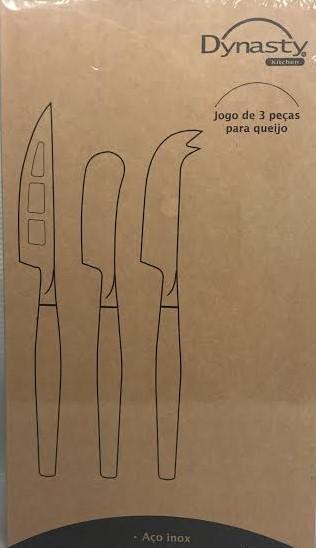 Conjunto 3 Facas para Queijo em Aço Inox com Cabo em Madeira - Dynasty