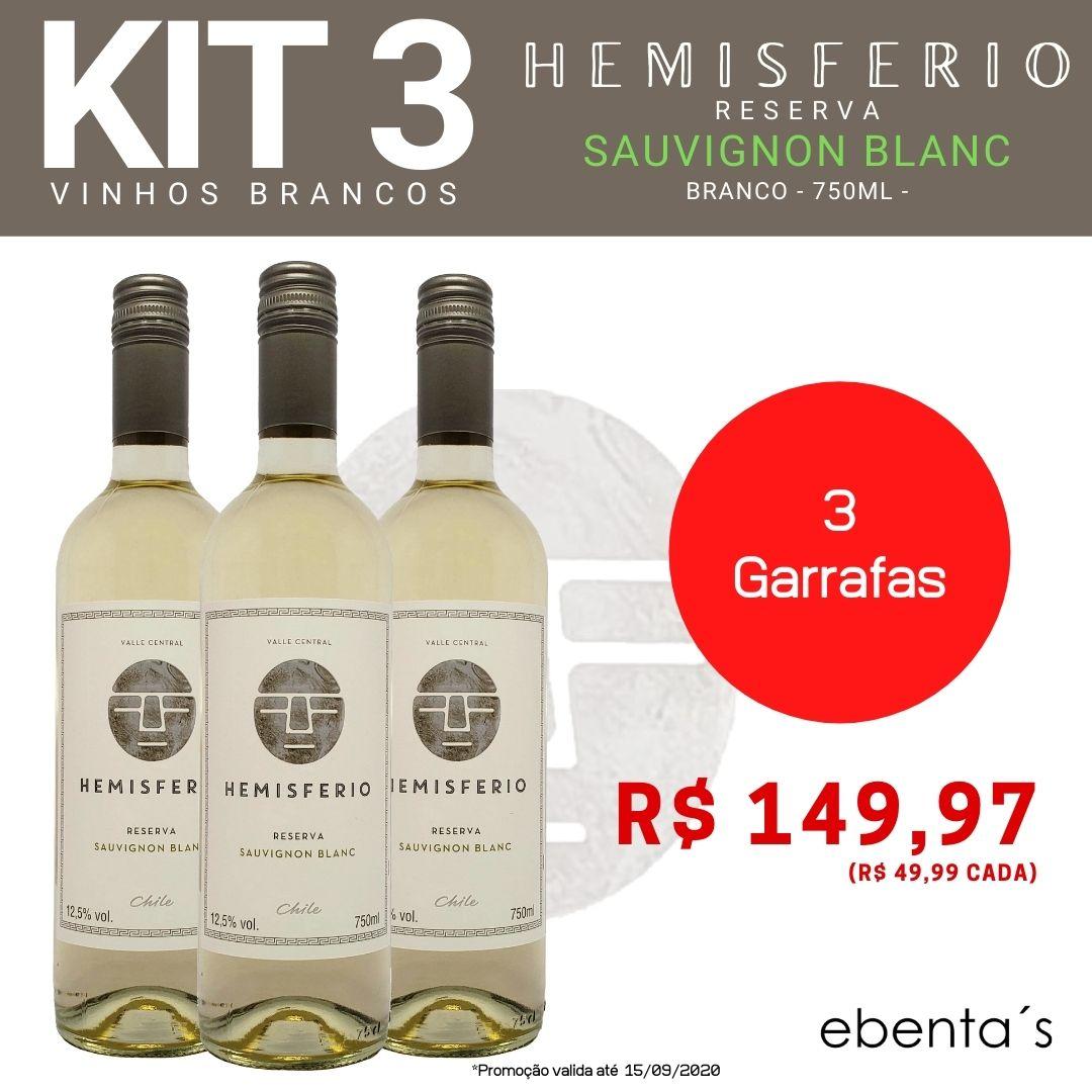 Kit 3 Vinhos Brancos Hemisferio Reserva Sauvignon Blanc