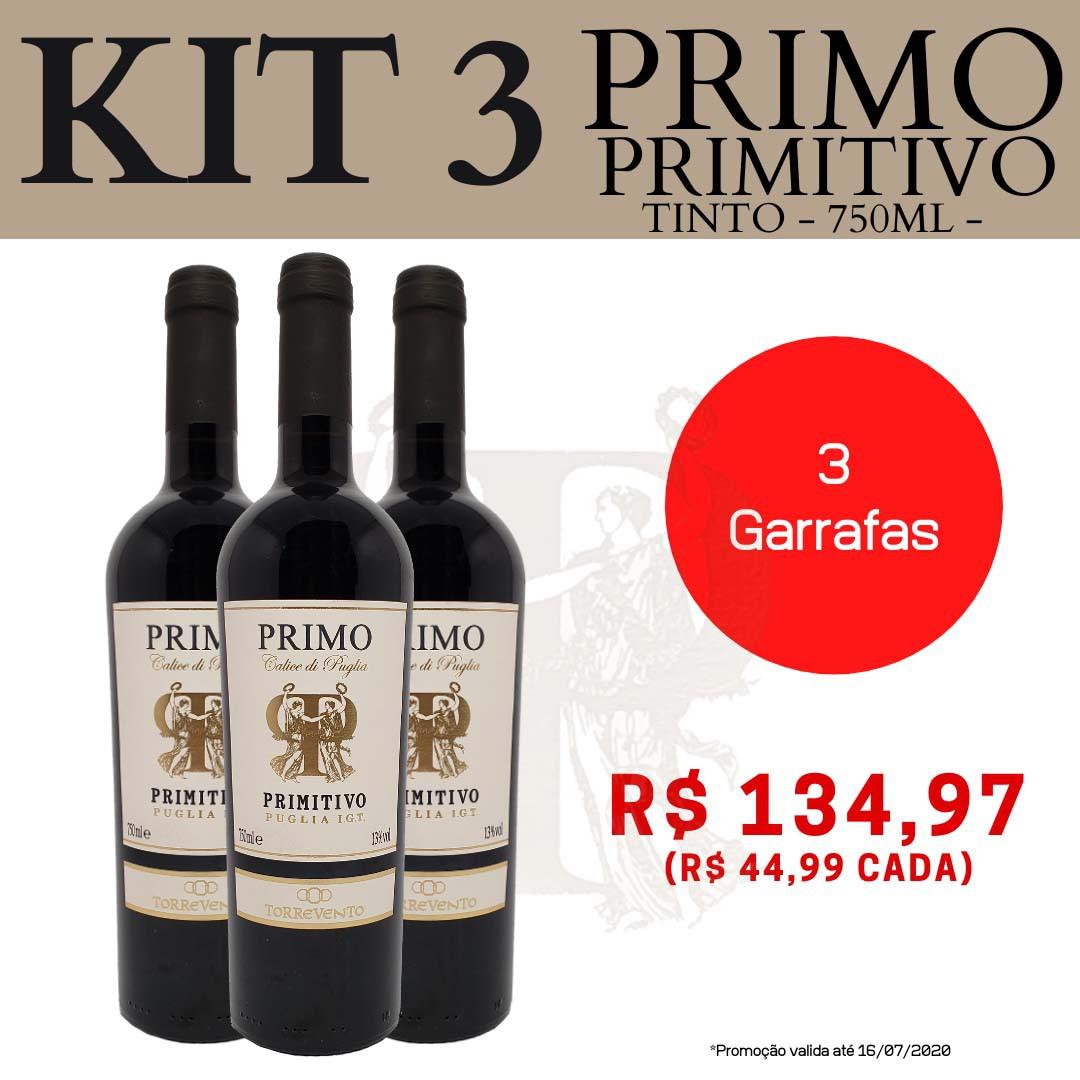 Kit 3 Vinhos Primo Primitivo Puglia I.G.T.