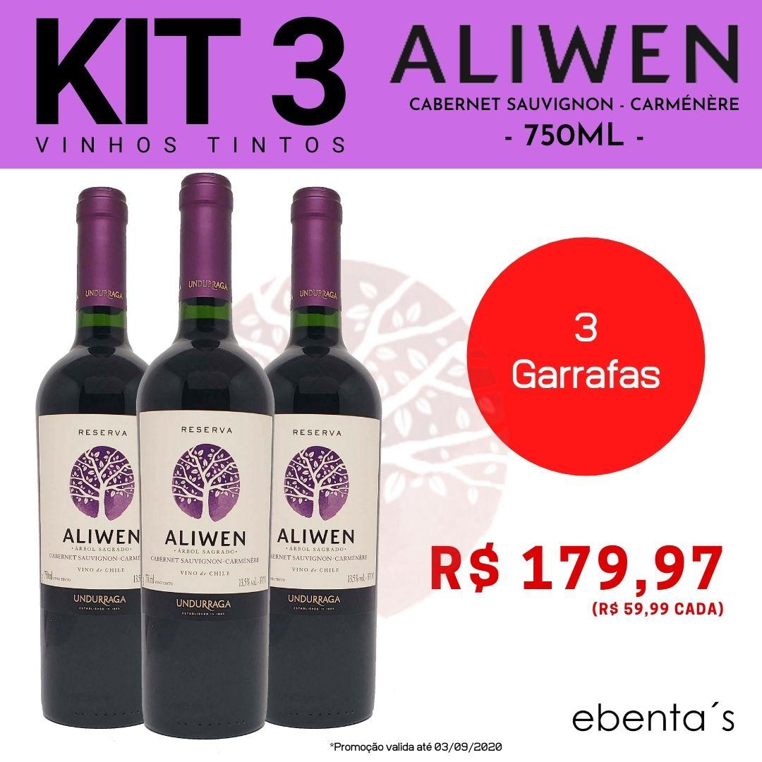 Kit 3 Vinhos Tintos Aliwen Reserva Cabernet Sauvignon-Carménère