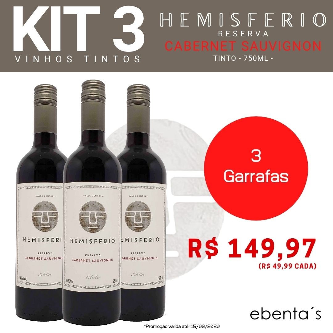 Kit 3 Vinhos Tintos Hemisferio Reserva Cabernet Sauvignon