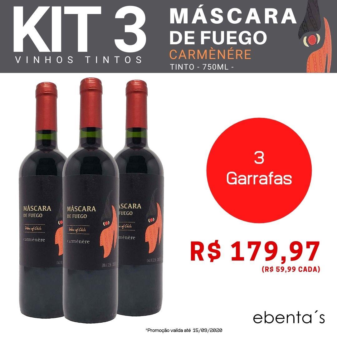 Kit 3 Vinhos Tintos Máscara de Fuego Carménère