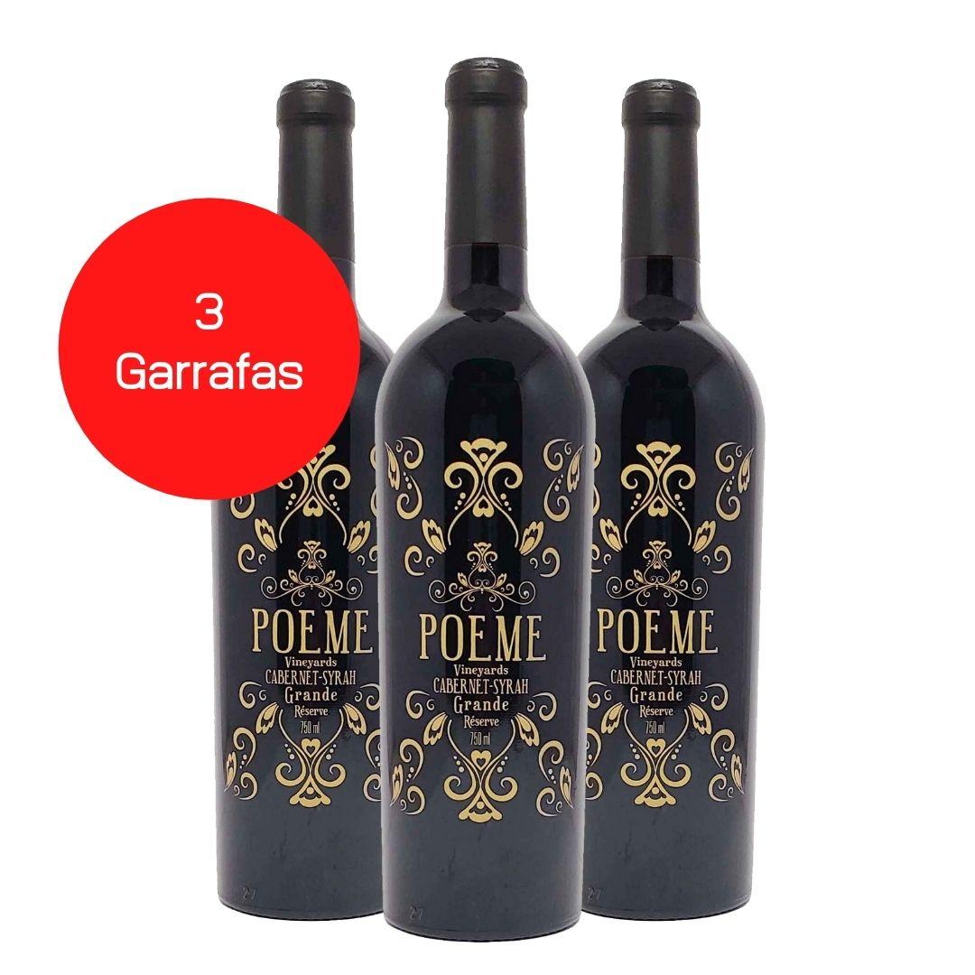 Kit 3 Vinhos Tintos Poeme Grande Reserve Cabernet-Syrah