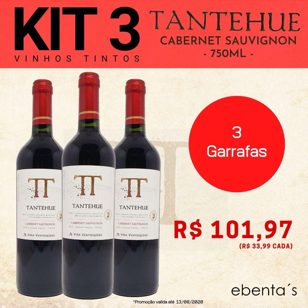 Kit 3 Vinhos Tintos Tantehue Cabernet Sauvignon