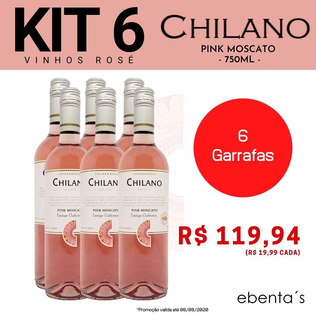 Kit 6 Vinhos Rosé Chilano Pink Moscato Vintage Colletion
