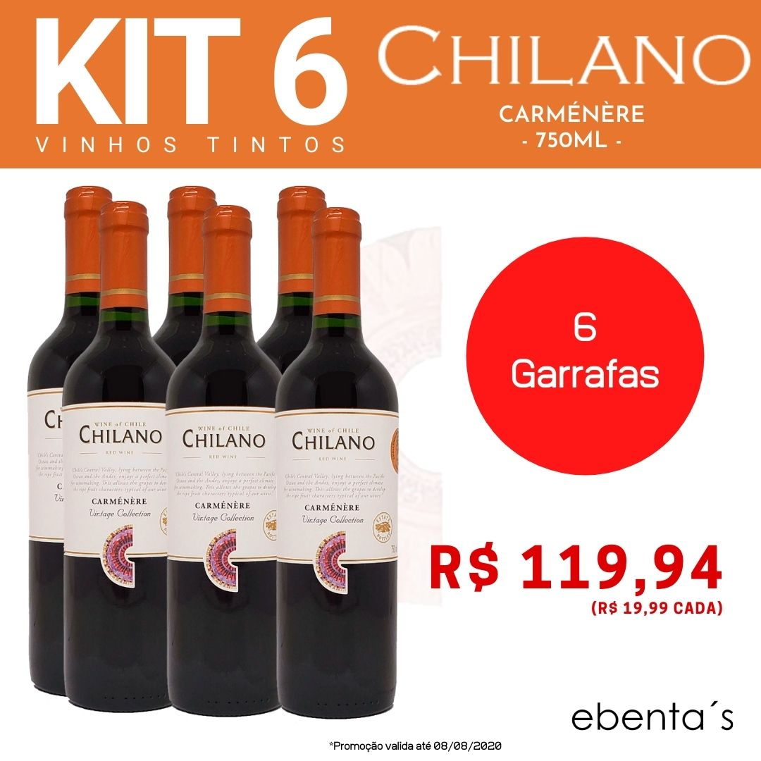 Kit 6 Vinhos Tintos Chilano Carménère Vintage Collection