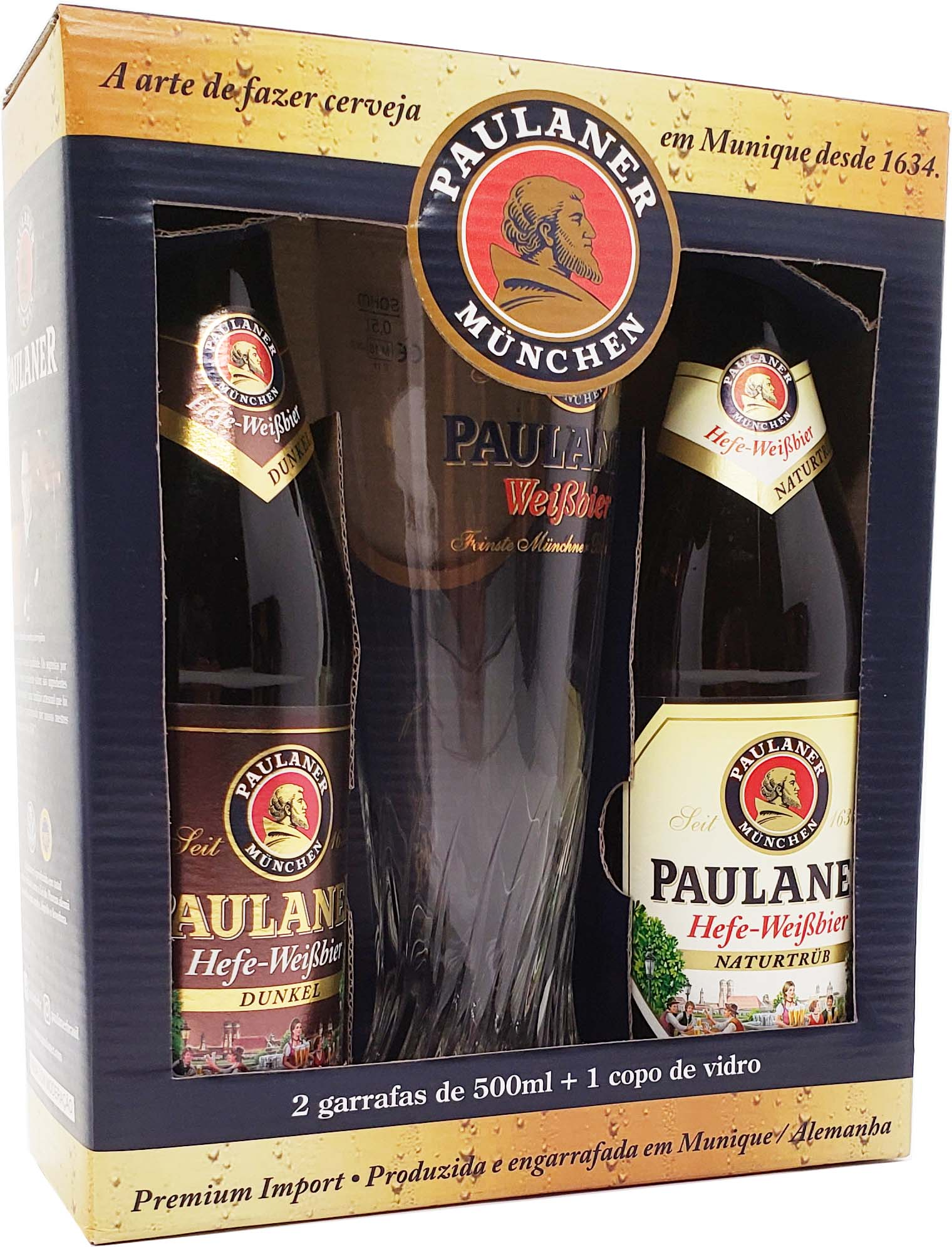 Kit Cerveja Paulaner Hefe-Weissbier 2 Garrafas de 500ml + Copo