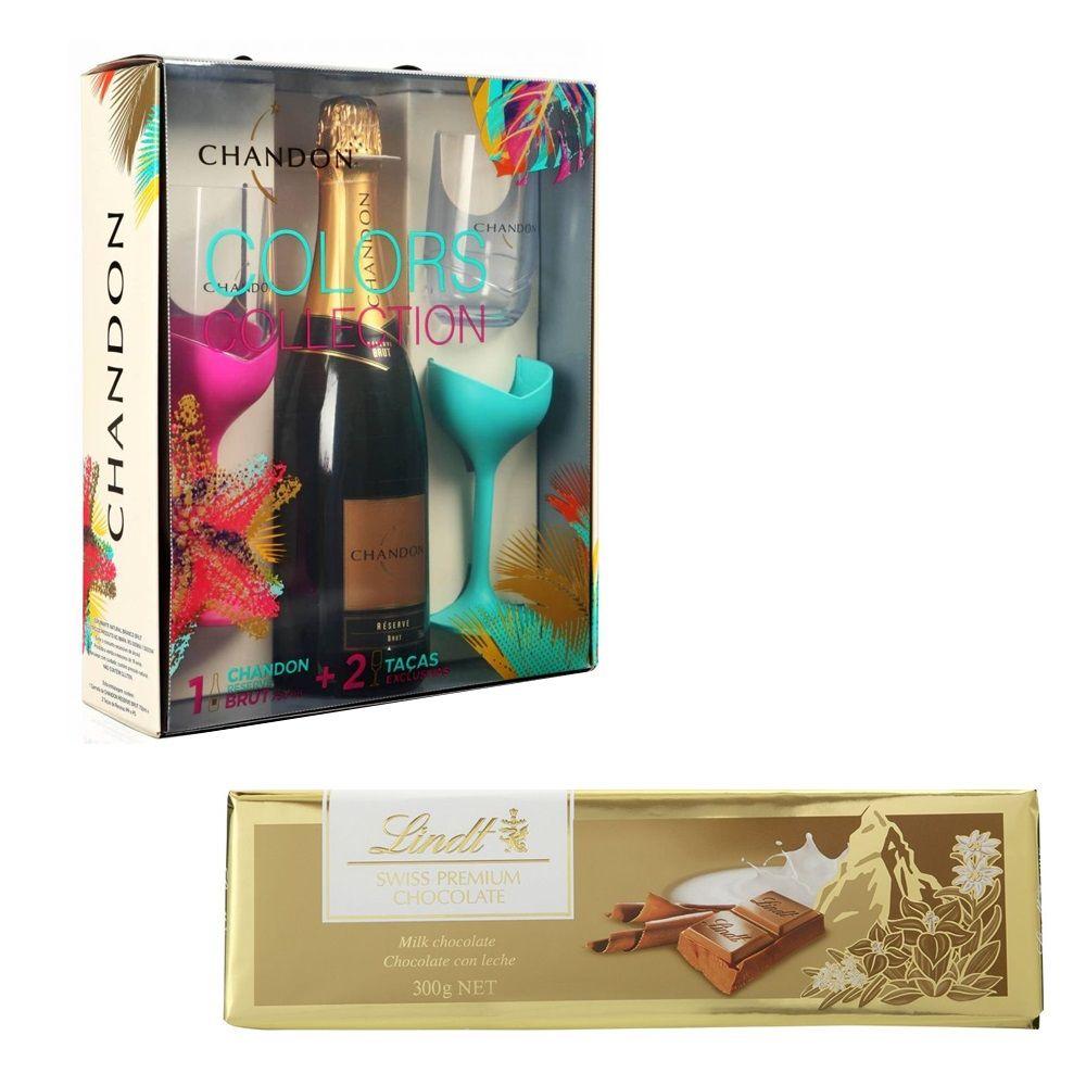 Kit Espumante Chandon - 750ml com 2 Taças + Chocolate Lindt ao Leite Gold Bar 300g