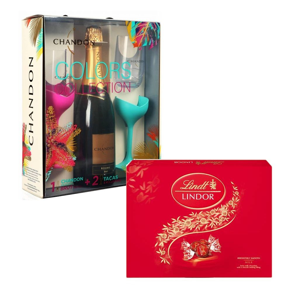 Kit Espumante Chandon - 750ml com 2 Taças + Chocolate Suíço Lindor Lindt 300g