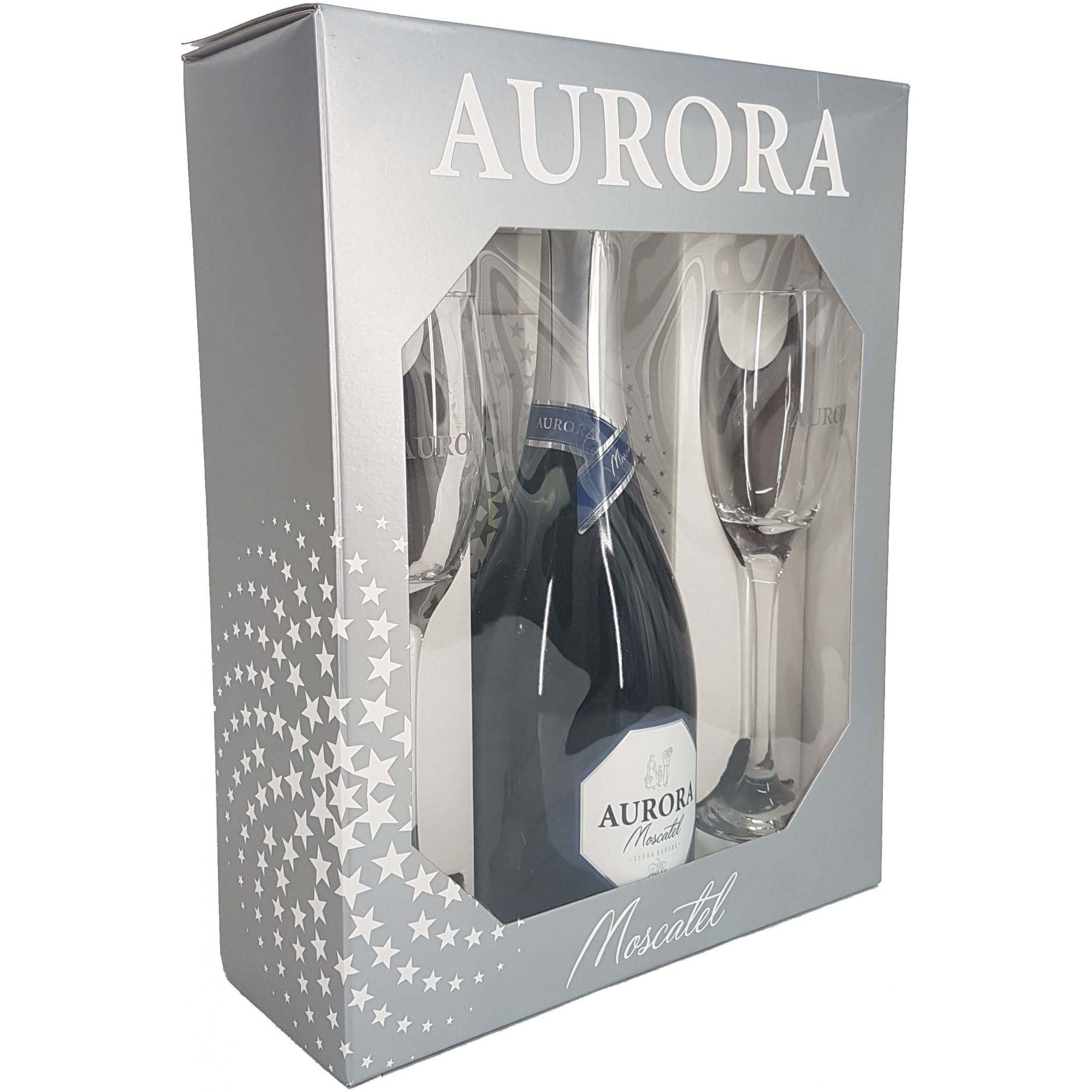Kit Espumante Moscatel Aurora + 2 Taças - 750ml -