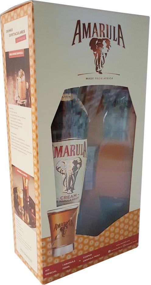 Kit Licor Amarula 750ml + 4 copos Amarula Twist