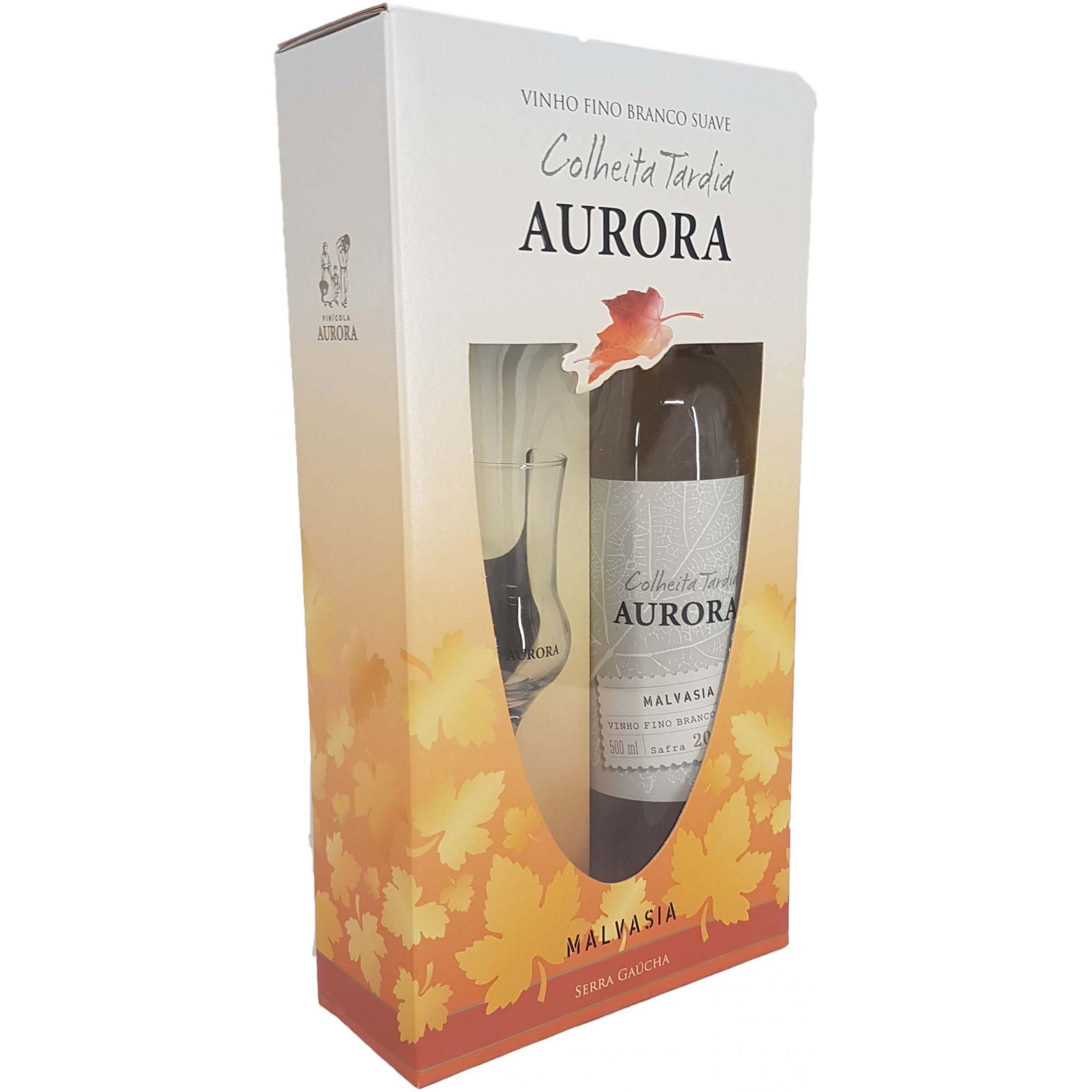 Kit Vinho Branco Aurora Colheita Tardia + 1 Taça - 500ml -