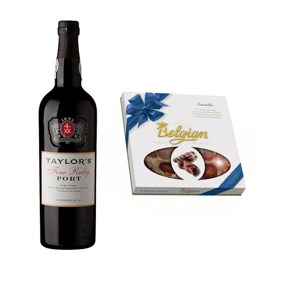 Kit Vinho do Porto Taylor's Portugal 750ml + Chocolate ao Leite Belgian 250g