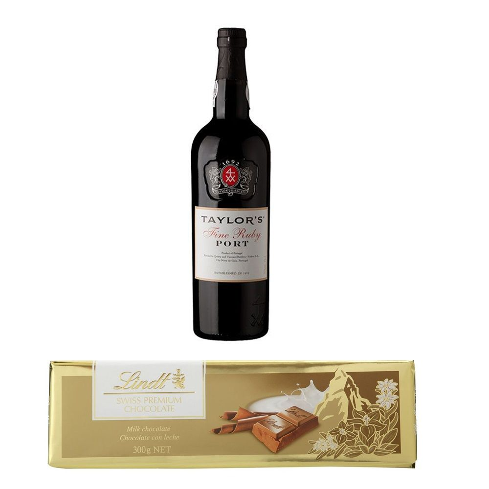 Kit Vinho do Porto Taylor's Portugal 750ml + Chocolate Lindt ao Leite Suiça 300g