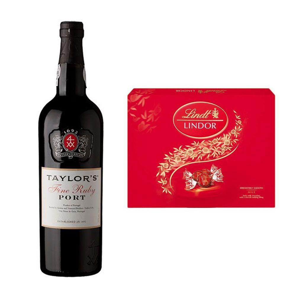 Kit Vinho do Porto Taylor's Portugal 750ml + Chocolate Suíço Lindor Lindt 300g