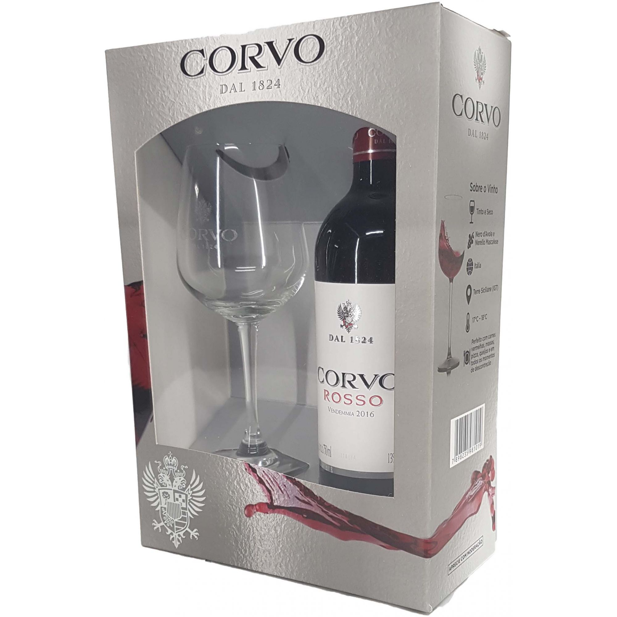 Kit Vinho Tinto Corvo Vendemmia + Taça  - 750ml -