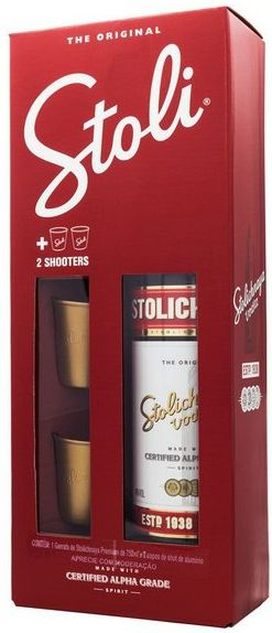 Kit Vodka Stolichnaya 750ml + 2 Copos Shooters