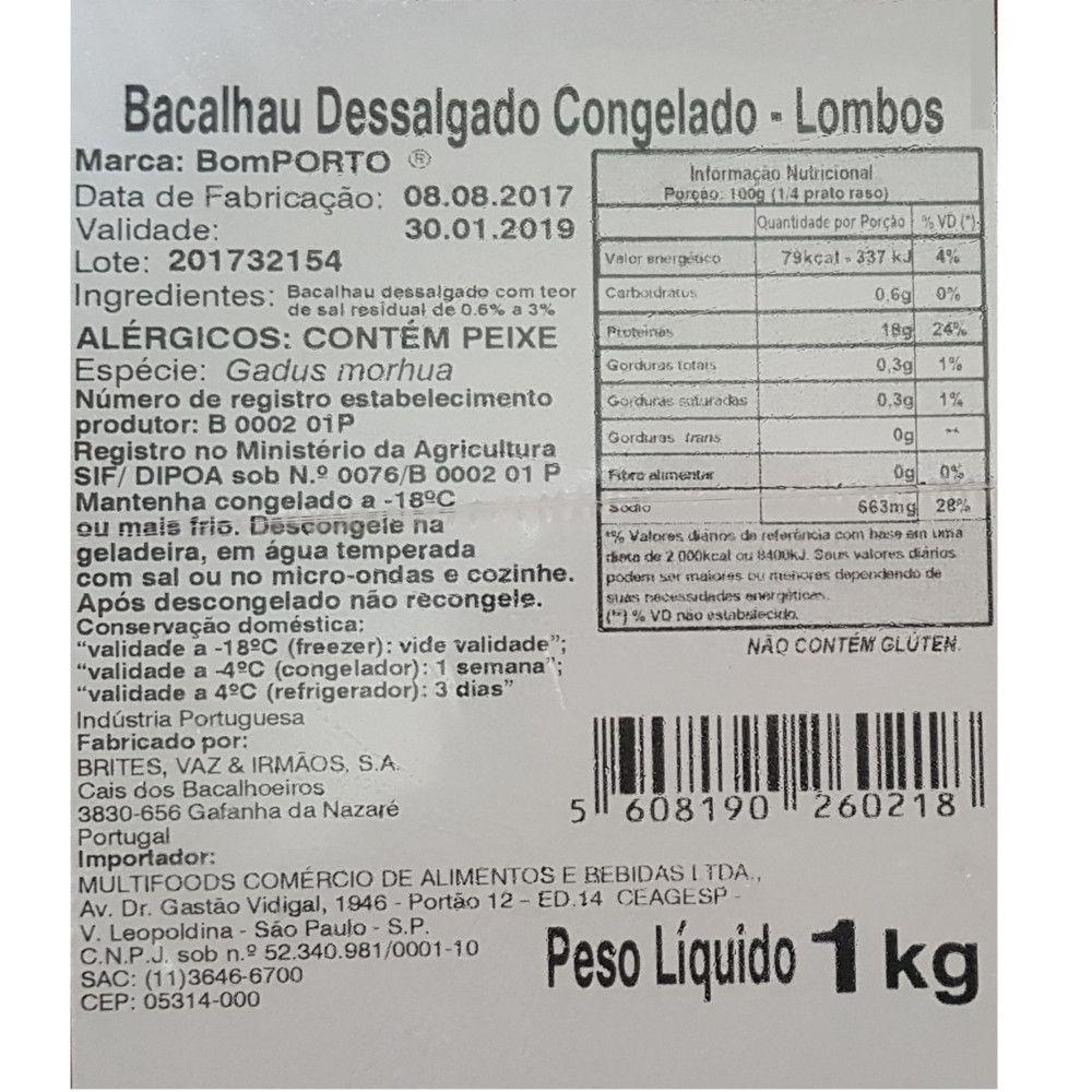 Lombos de Bacalhau Dessalgado Congelado - Bom PORTO - 1kg