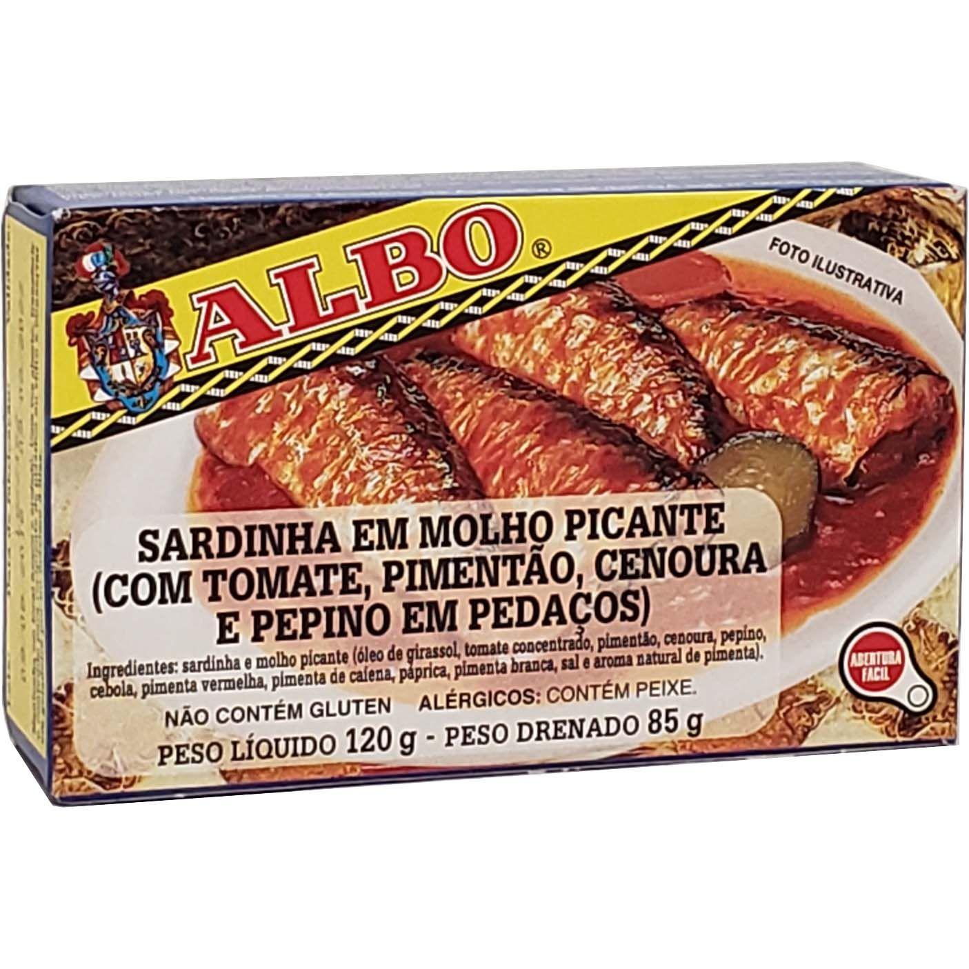 Sardinha Em Molho Picante Com Tomate, Pimentão, Cenoura e Pepino Em Pedaços Albo - 120g -