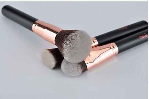 Kit 15 Pincéis De Maquiagem Profissionais Msq Ouro Rosé