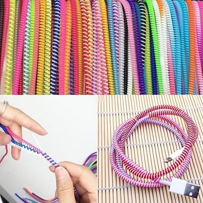 Kit com 10 Molas Coloridas Anti Quebra para Cabos USB