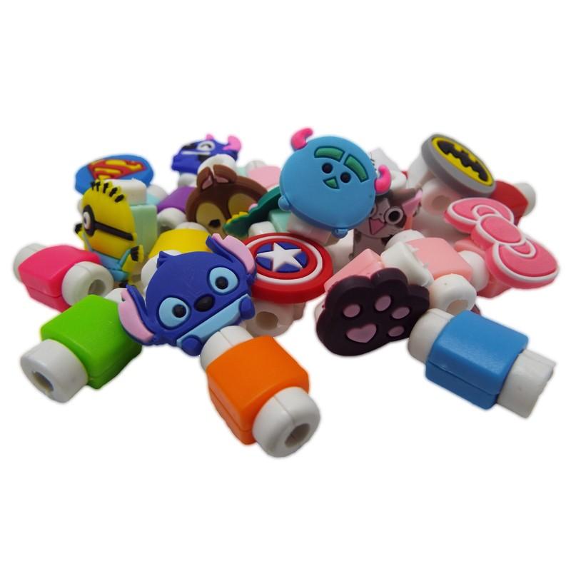 Kit com 30 Protetores de Cabo USB Iphone Personagens Desenhos Animados