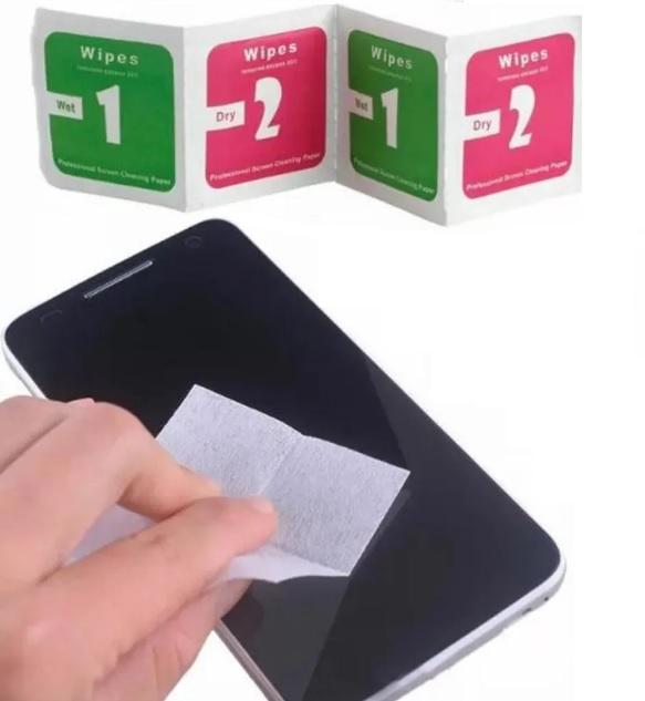 Kit Lenços Descartáveis de Limpeza Profissional de Telas de Celular, Tablets, Displays LCD, LED e Lentes de Câmeras