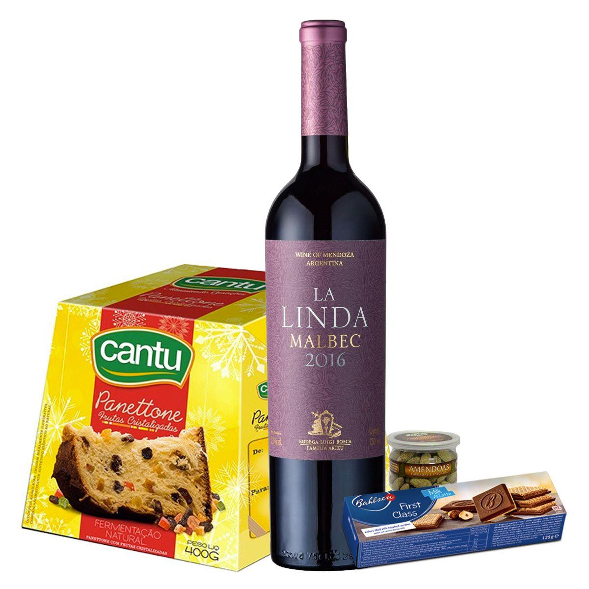 Kit de Natal - La LindaMalbec, Panettone de frutas Cantu, Amêndoas e Biscoito Bahlsen