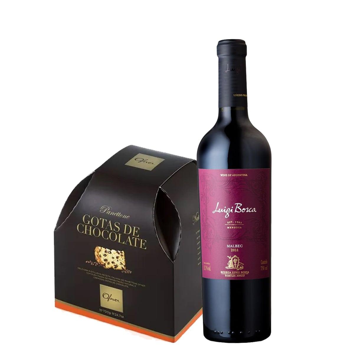 Kit de Natal - Luigi Bosca Malbec e Panettone Ofner Gota de Chocolate