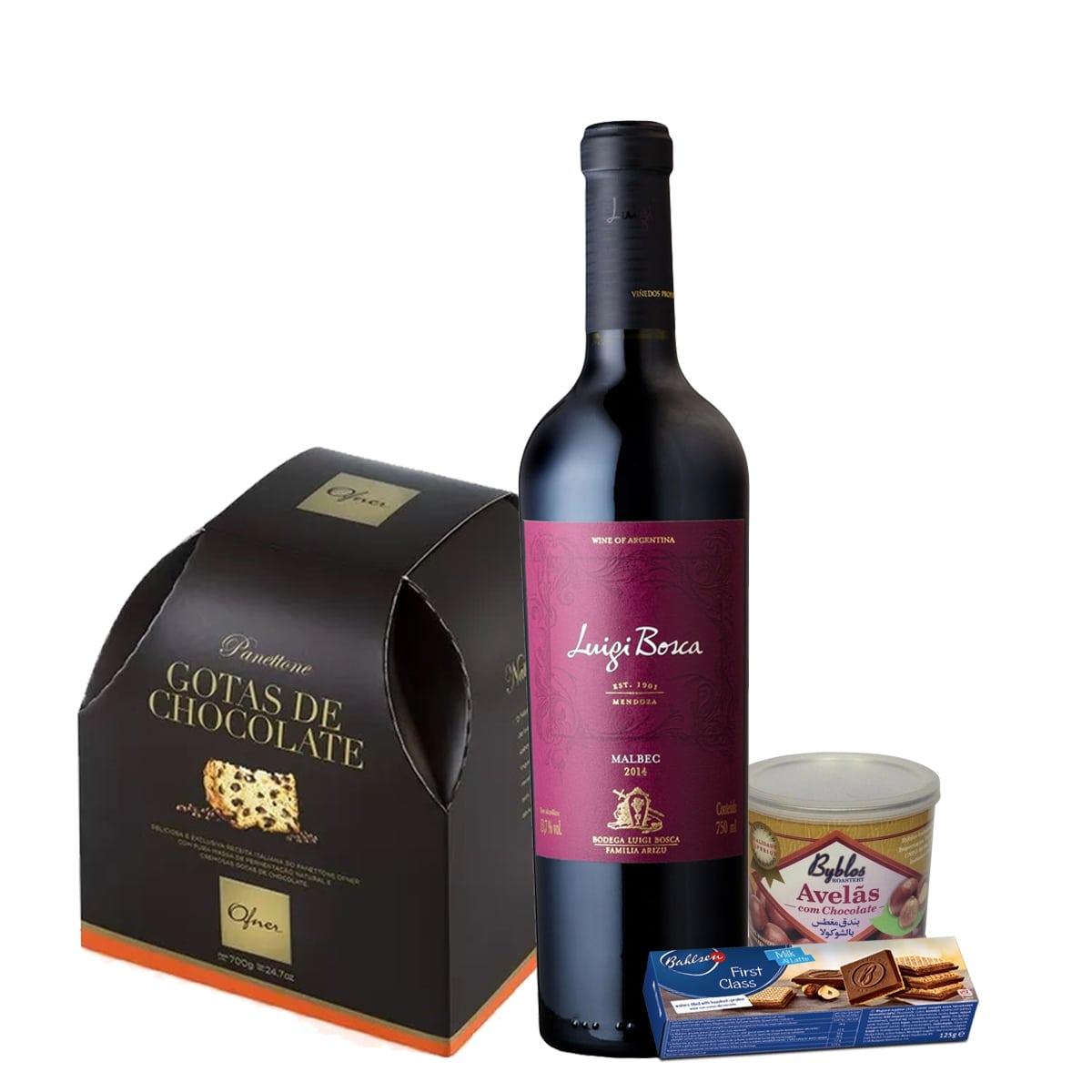 Kit de Natal - Luigi Bosca Malbec, Panettone Ofner Gota de Chocolate,Biscoito Bahlsen, e Avelã