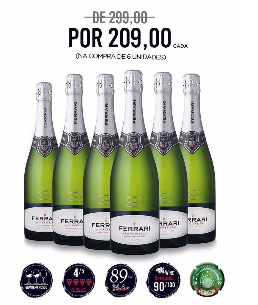 Kit Ferrari Maximum Brut com 6 garrafas