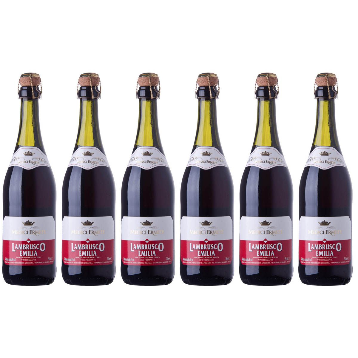 Kit com 6 Garrafas Lambrusco Rosso Dolce Dell'Emilia