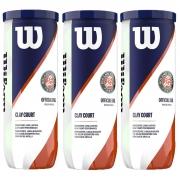 Bola de Tênis Wilson Roland Garros Clay Pack Com 03 Tubos