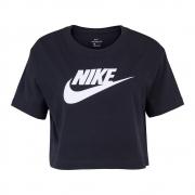 Camiseta Cropped Nike SW Essential Preta e Branca - Feminina