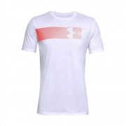 Camiseta Under Armour Fast Left Chest 2.0 Branca e Laranja - Masculino