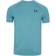 Camiseta Under Armour Tech 2.0 Azul Claro e Preto - Masculino