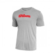 Camiseta Wilson Match Cinza Mescla e Vermelho