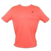 Camiseta Wilson Trainning 10 Neon Coral e Preto - Masculino